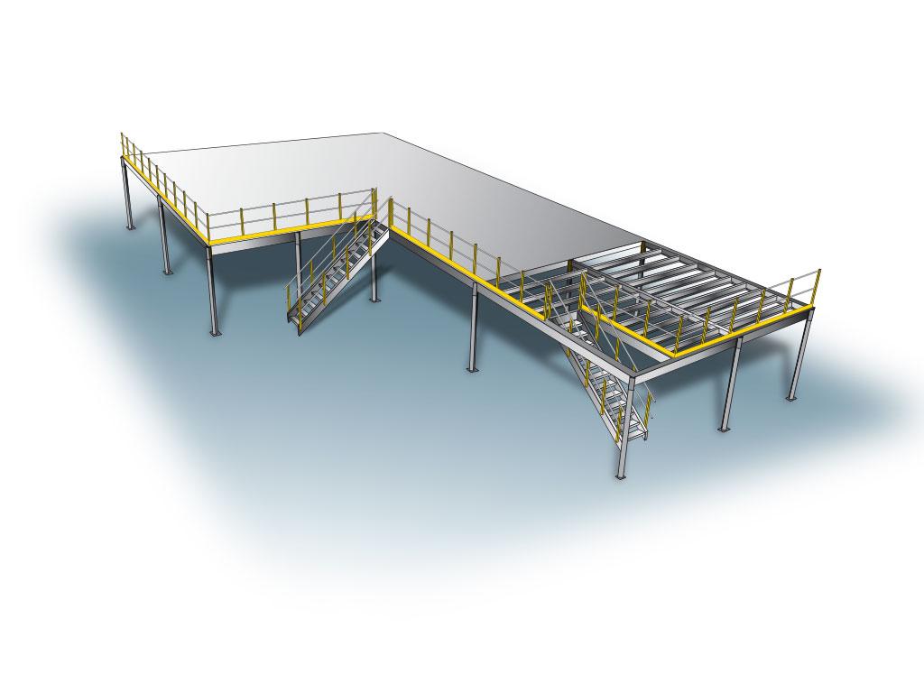 Plateforme de stockage à poteaux - Plan 3D